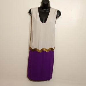 DVF Komotini Silk Dress w/Beaded Dropped Waist